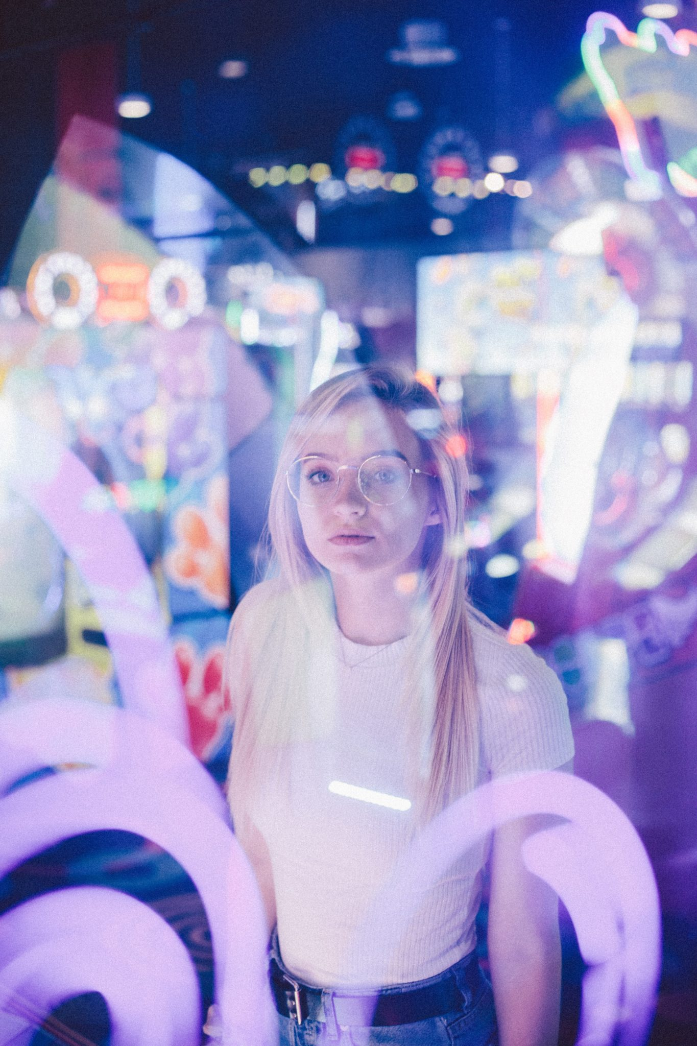 Young Woman in arcade