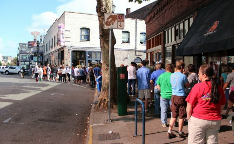The line outside Voodoo Donuts