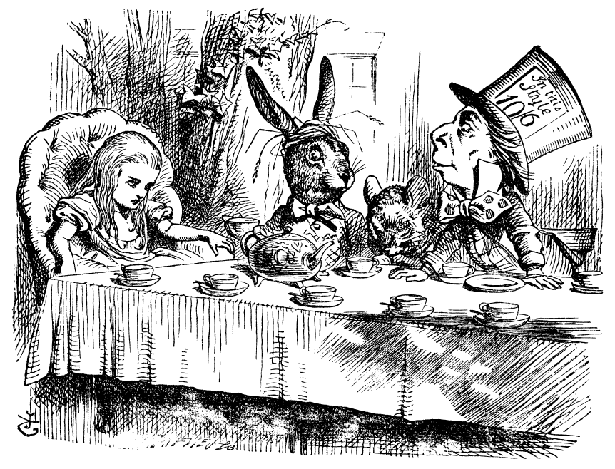 Alice & Wonderland Engraving with Alice, the White Rabbit and the Mad Hatter
