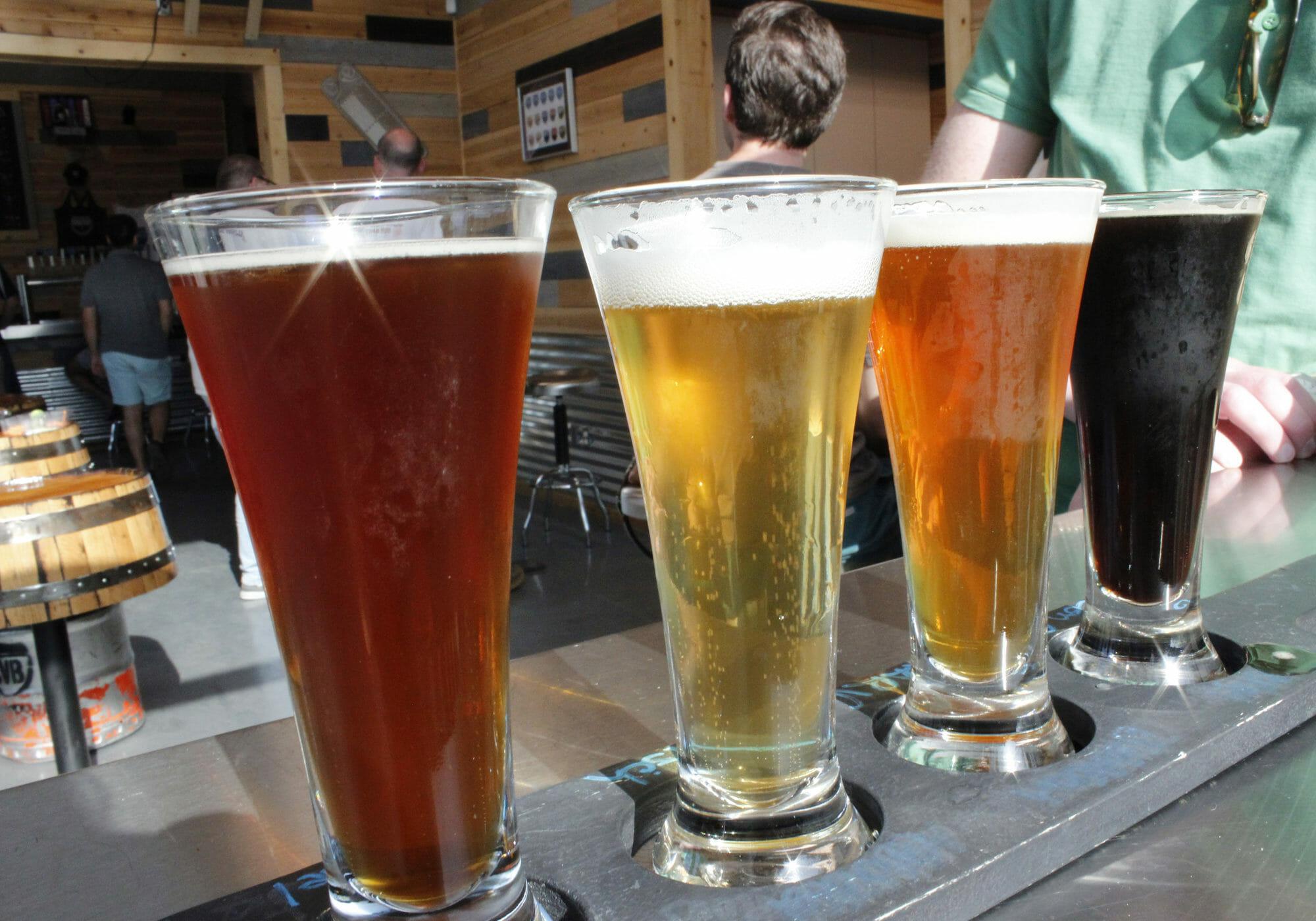 Flight of beer at Coachella Valley Brewing Co.