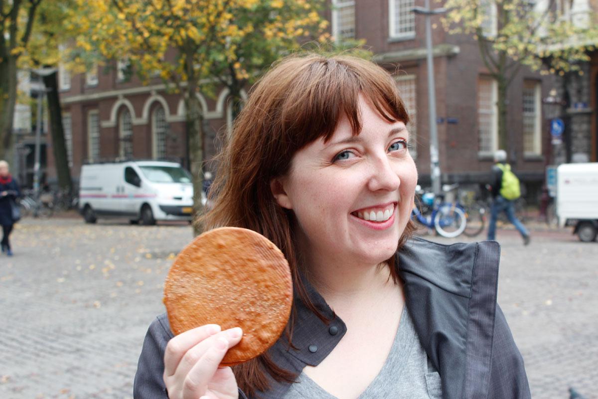 Enjoying a Stroopwafel in Amsterdam