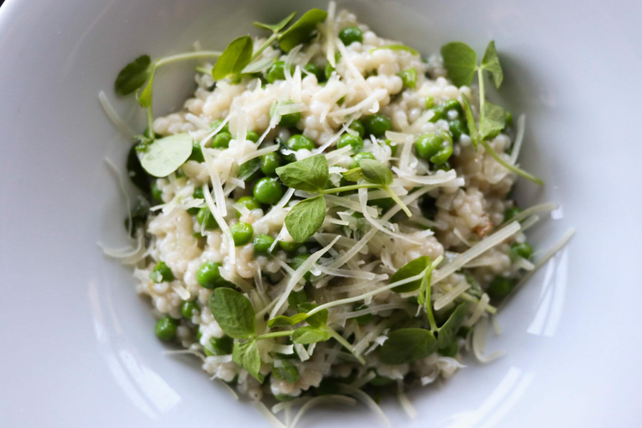 Spring pea and basil pasta in bowl