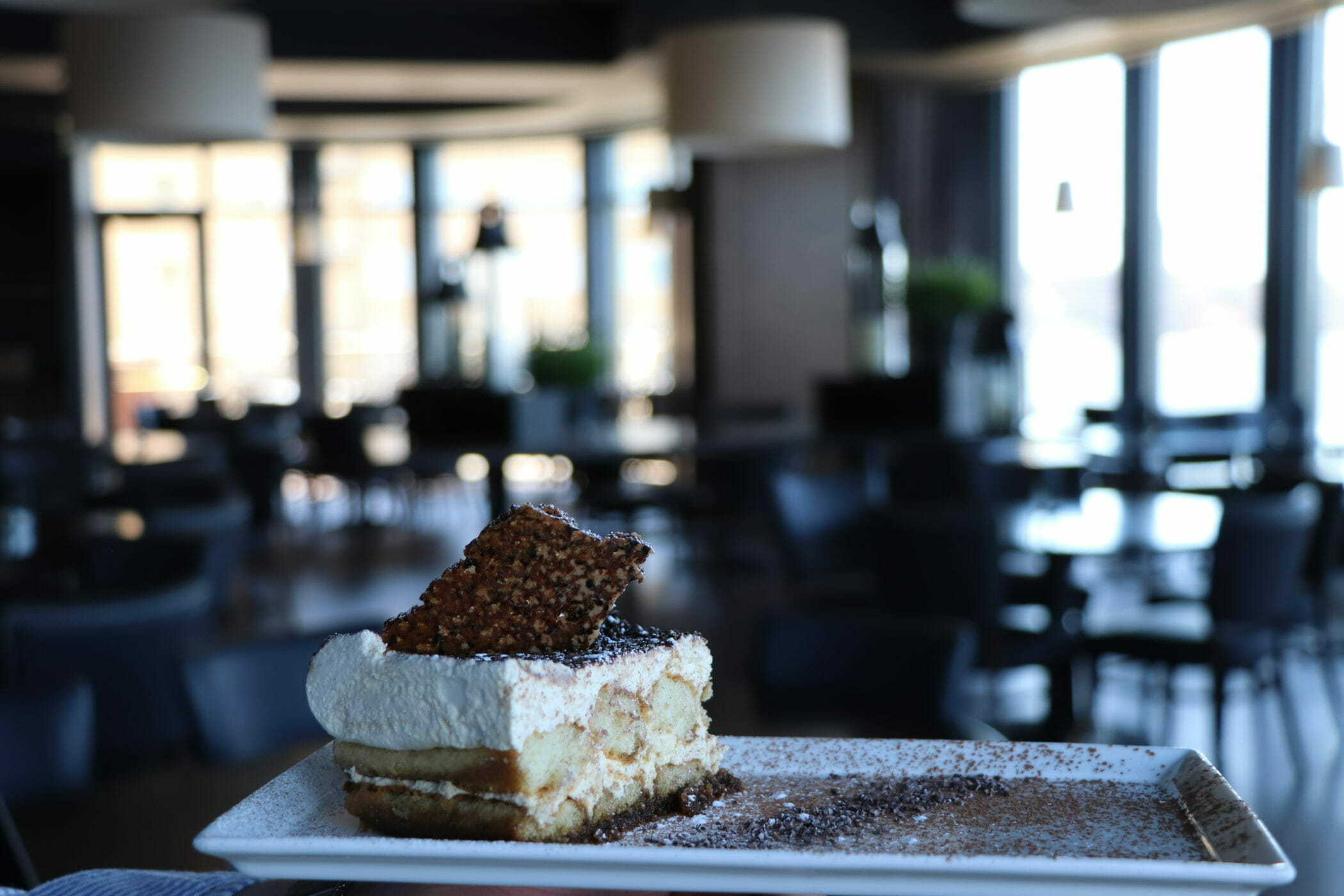 Tiramisu on rectangular plate
