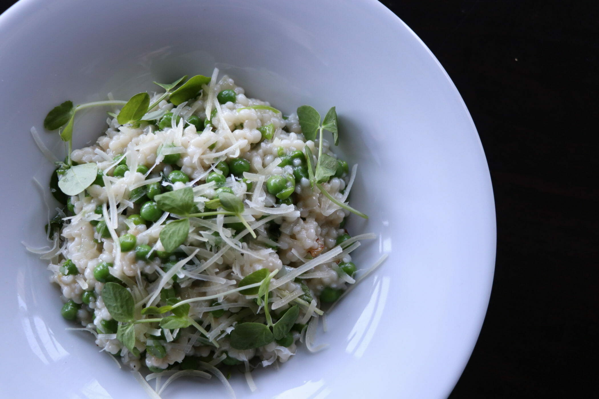 Spring pea and basil pasta in bowl