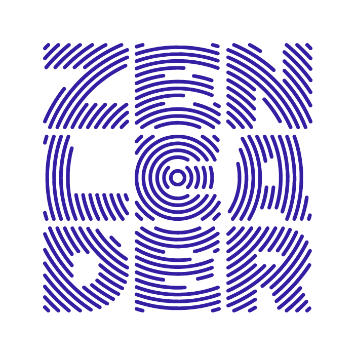 small radial Zen Leader logo in blue.