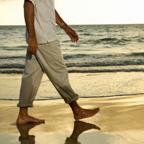 walking on the beach
