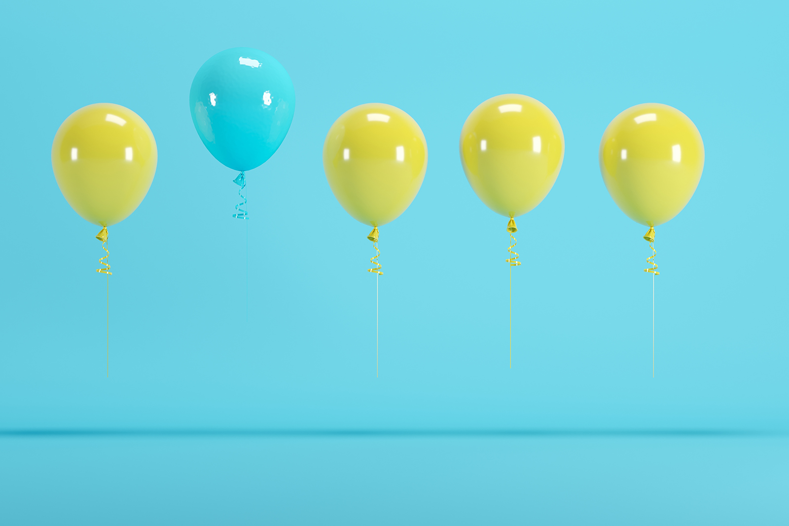 Balloons, with one floating away
