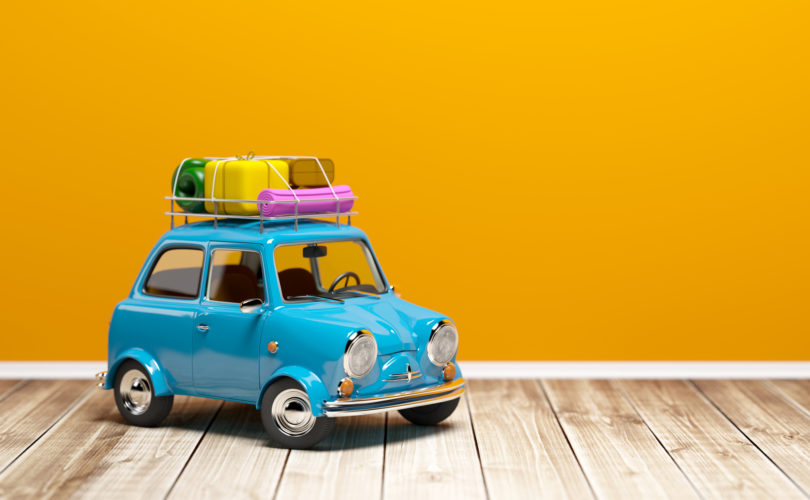 Small and cute blue retro trip car on floor. 3d illustration