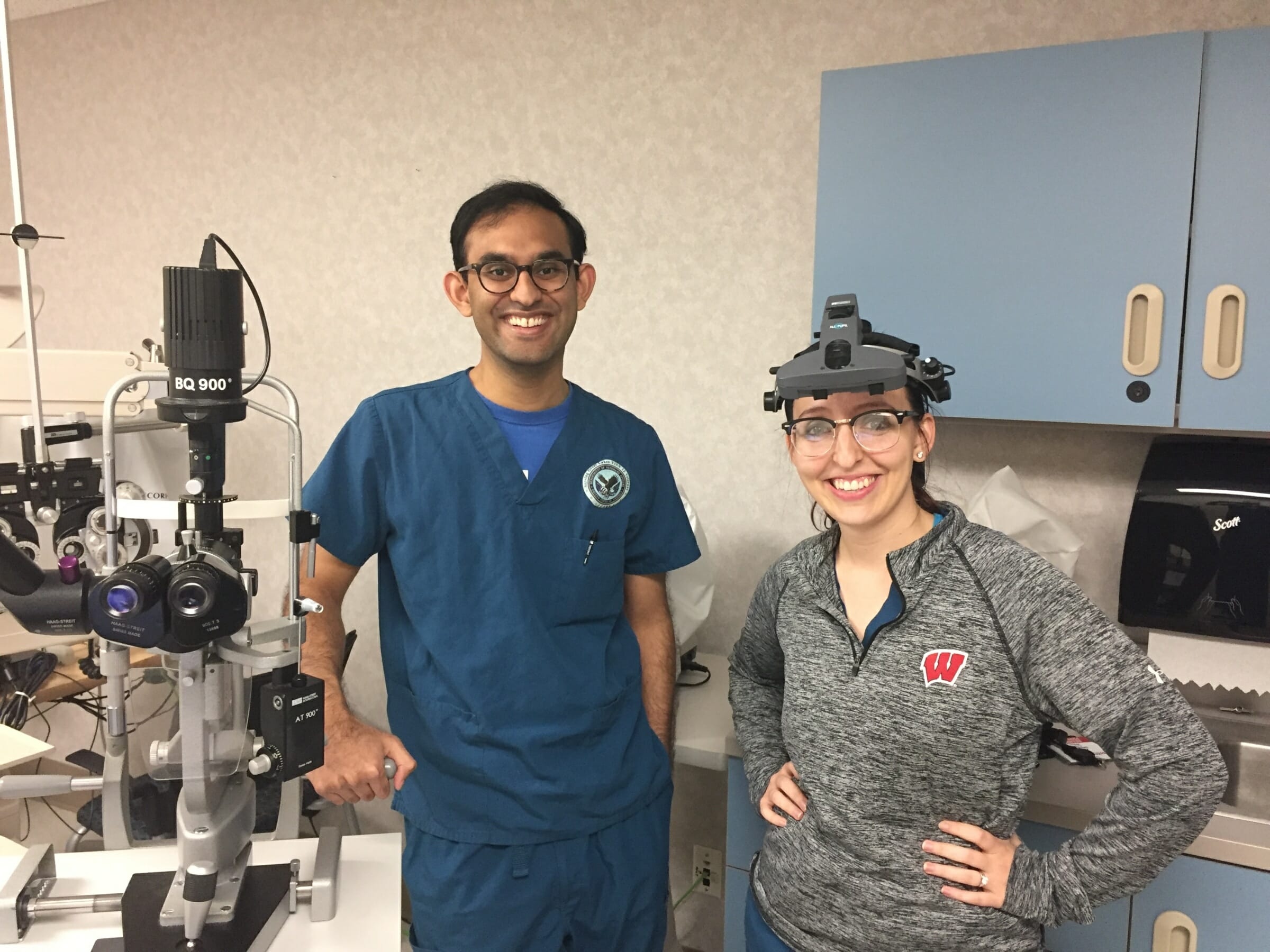 Drs. Chintan Pathak and Katherine Dalzotto in clinic.