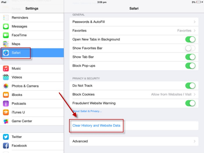 Clear History and Website Data Button for iOS