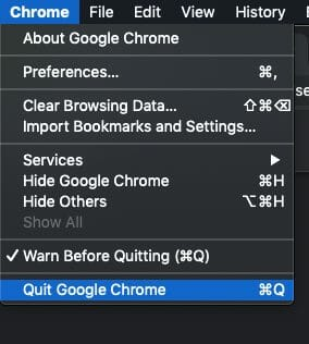 Google Chrome for desktop cache clearing procedure, Quit Chrome step