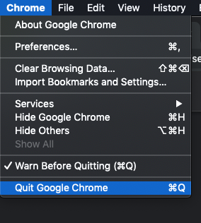 Google Chrome for desktop cache clearing procedure, Quit Chrome step