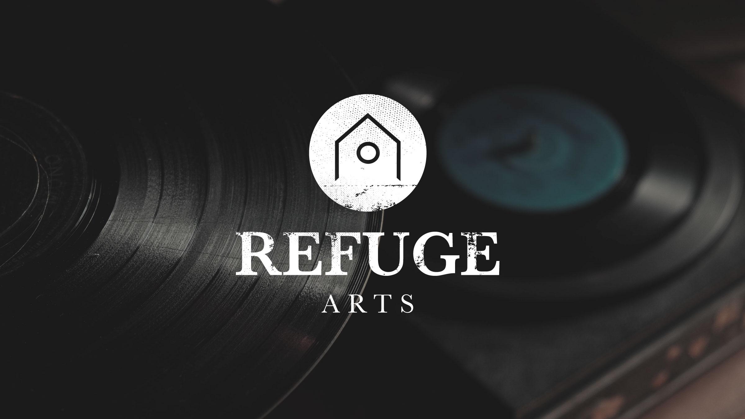 Refuge Arts concept against records.