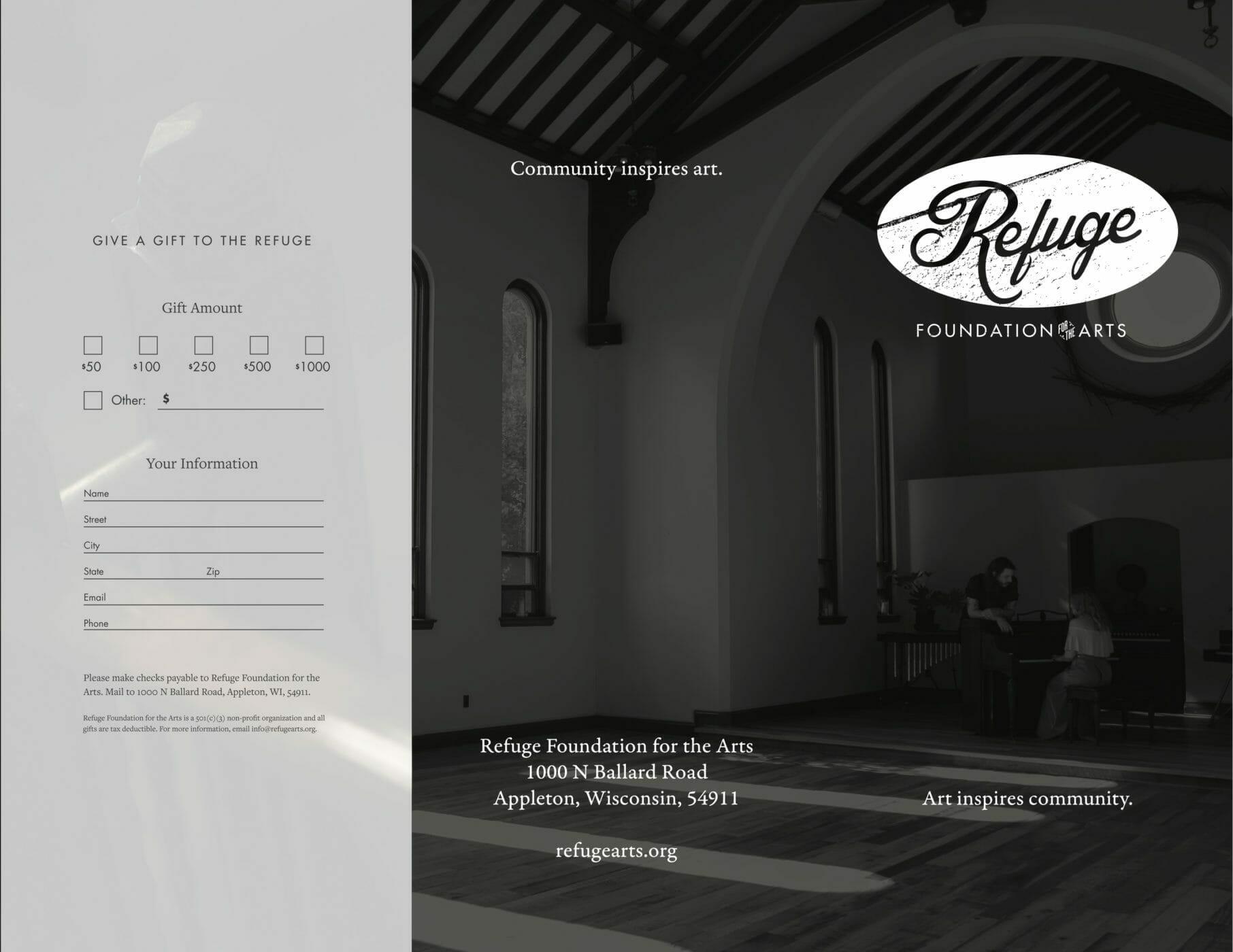Refuge Brochure front