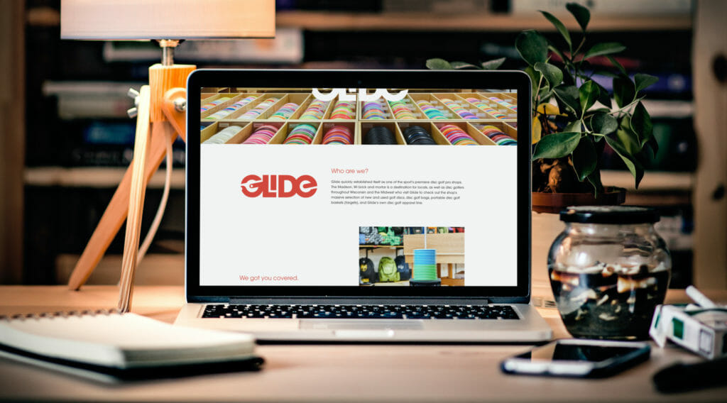 Glide Disc Golf Website on a laptop