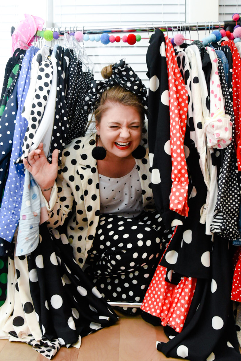 Photo of Allie surrounded by polka dots