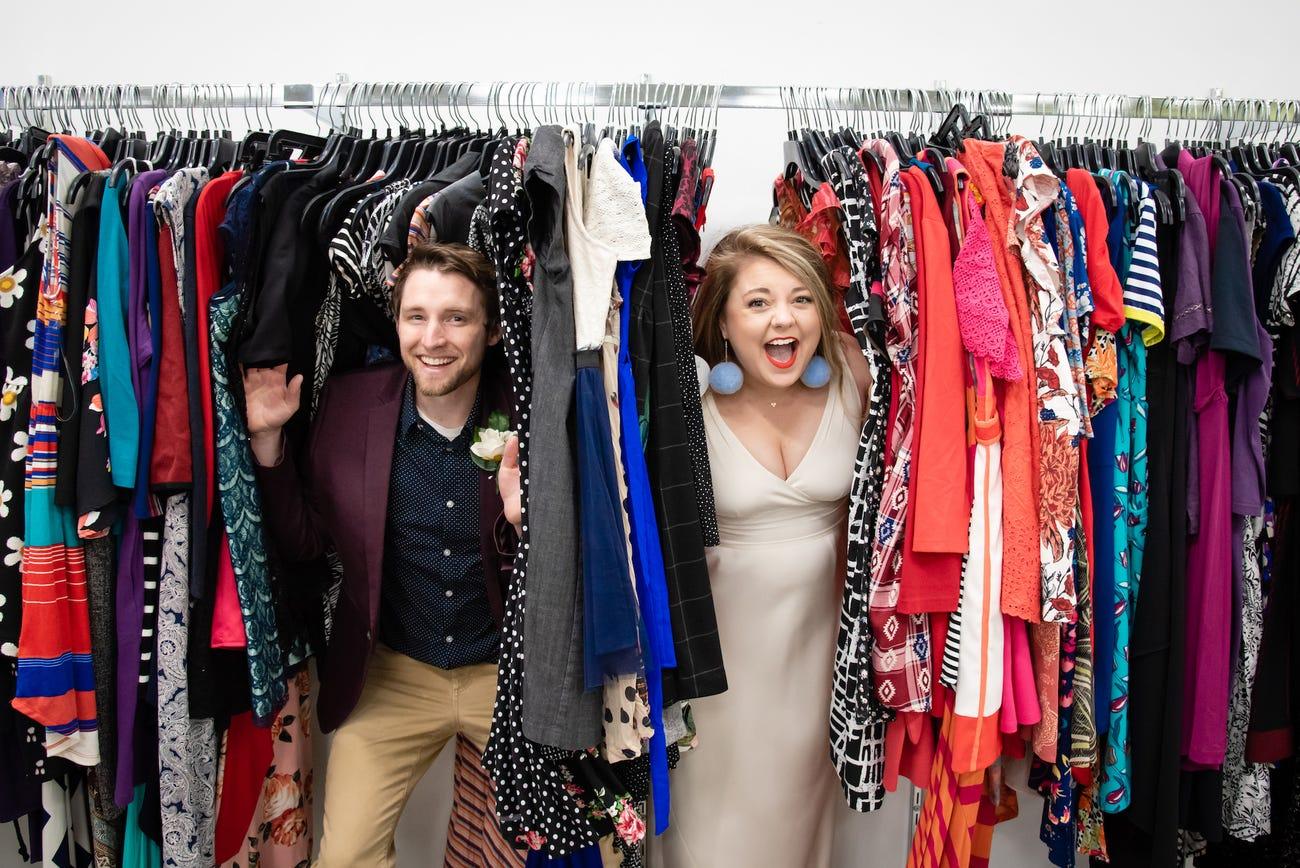 Allison Kelley and Jake Kujawa at a Thrift Store