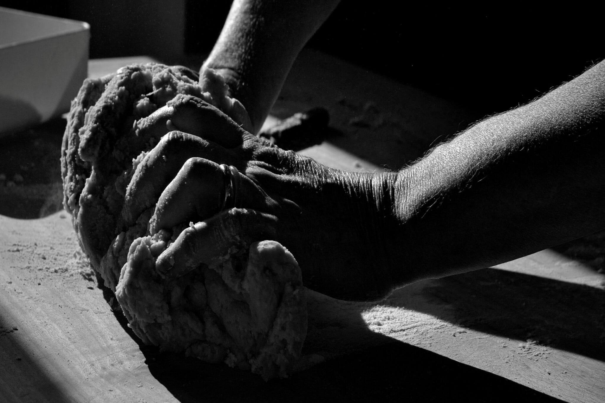 Baker making a pie