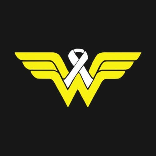Wonder Woman logo with cancer ribbon