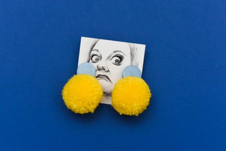 Photo of Yellow Polymer Pom Earrings