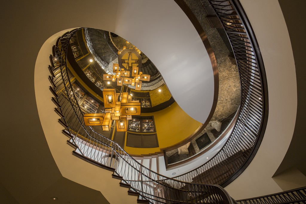Spiral Staircase with Modern Chandelier