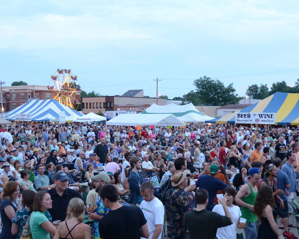 People gather at the La Fête de Marquette Festival in Madison, Wisconsin