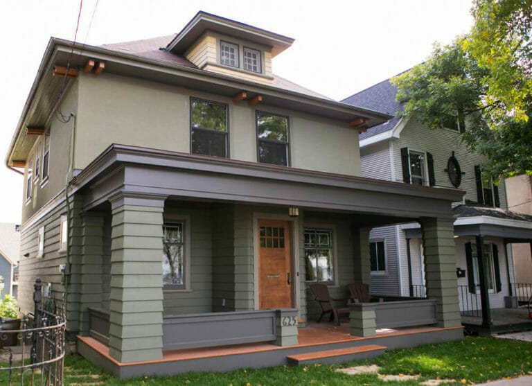 Exterior remodel of a historic home front porch in Madison Wisconsin, by TDS Custom Construction.