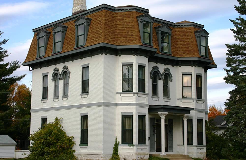 Unique historic preservation of a 1880's Second Empire Victorian home.