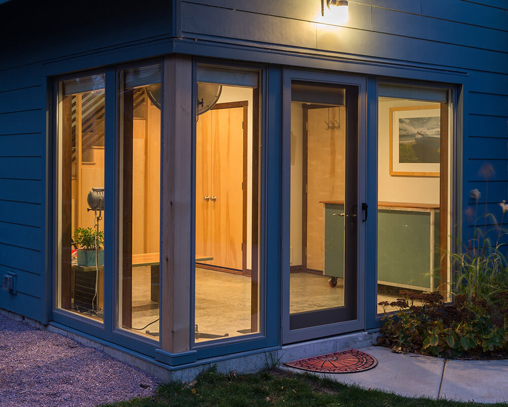 Custom designed and custom built new construction accessory dwelling unit (ADU) garage and workshop by TDS Custom Construction in Madison, WI.