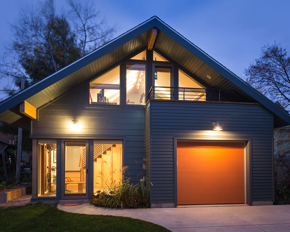 Custom designed and custom built new construction garage and workshop by TDS Custom Construction in Madison, WI, which serves as a studio, office, and meditation room.