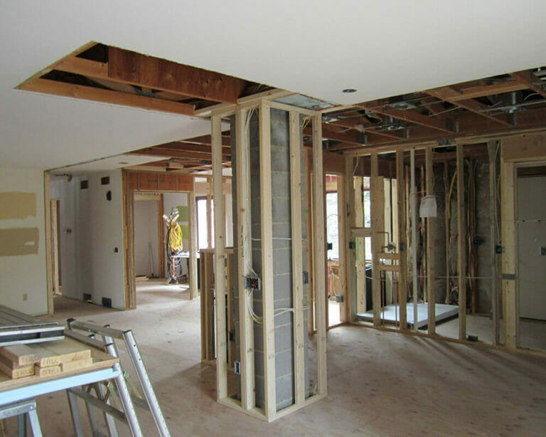 Process photograph of the TDS Custom Construction interior renovation of a 1970's ranch home in Madison, Wisconsin.