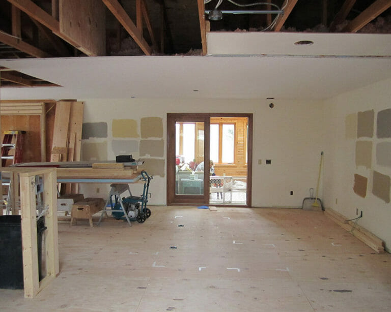 Process photograph of the TDS Custom Construction interior renovation and opening up of a 1970's ranch home.