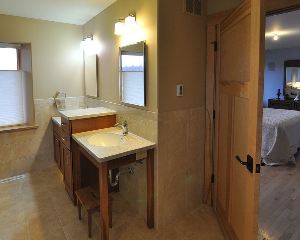 Bathroom remodel custom design/built designed for aging in place in Oregon, WI, by TDS Custom Construction.