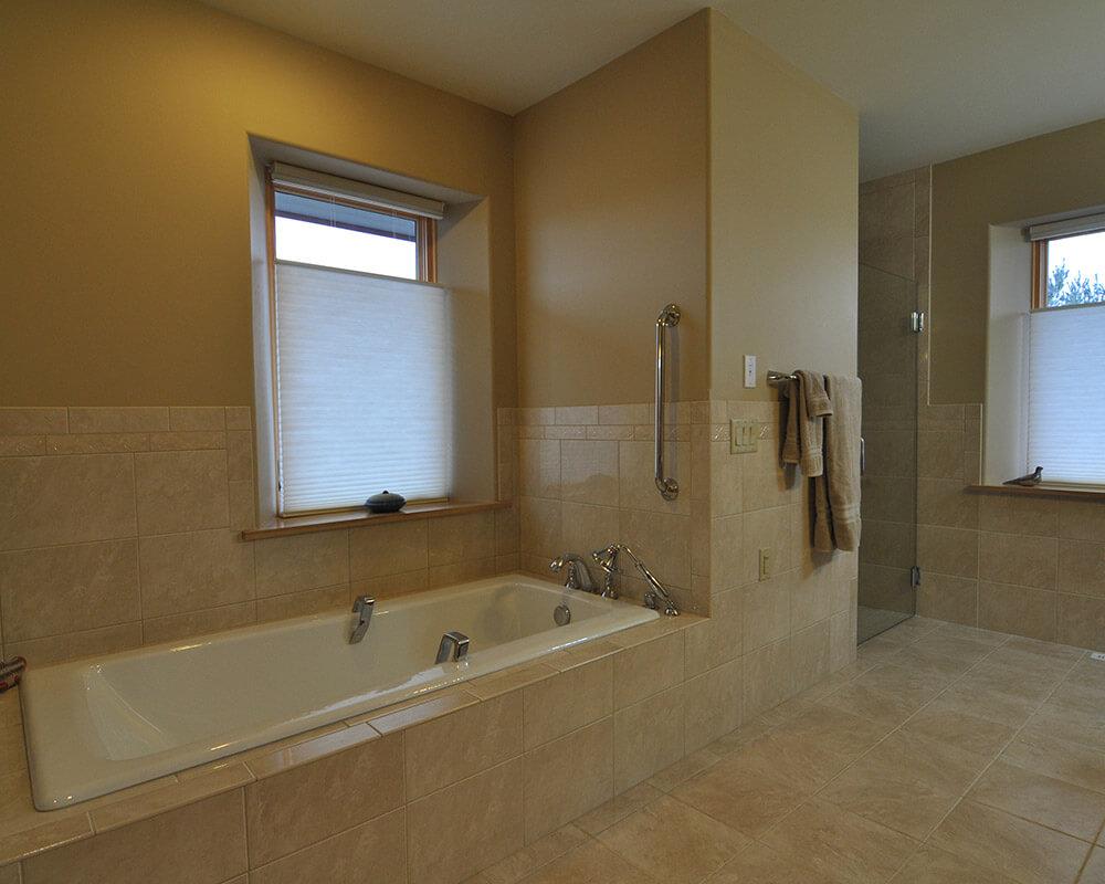 Bathroom remodel custom design/built using Universal Design principles in Oregon, WI, by TDS Custom Construction.