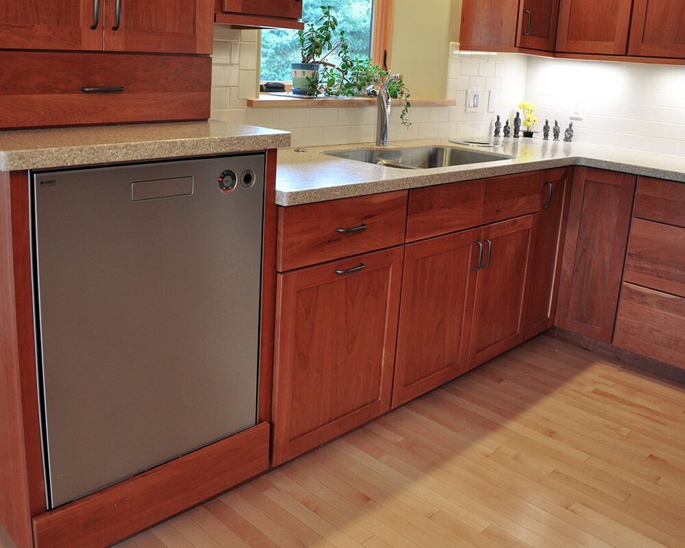 Universal/Aging-in-place design standards in this high performance cherry kitchen by TDS Custom Construction in Oregon, WI.