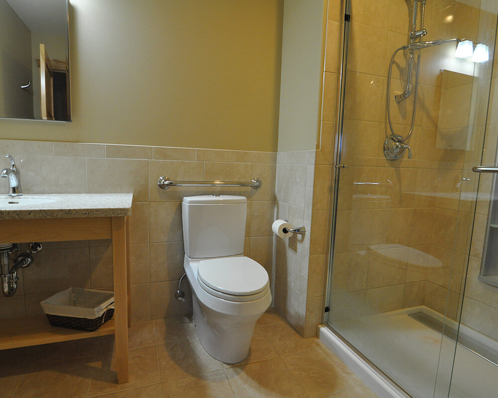 Full bathroom designed for aging in place in Oregon, WI, by TDS Custom Construction.