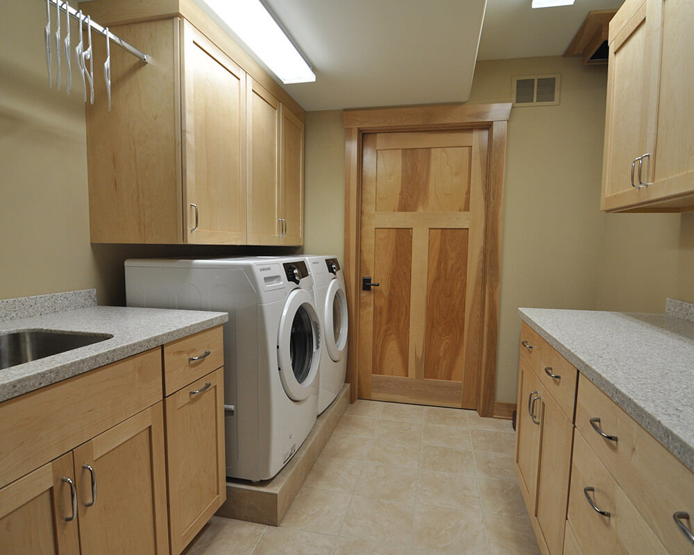 Laundry room remodel designed for aging in place in Oregon, WI, by TDS Custom Construction.