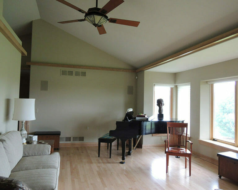 Open floor plan designed for aging in place in this custom design/build net-zero new home by TDS Custom Construction.