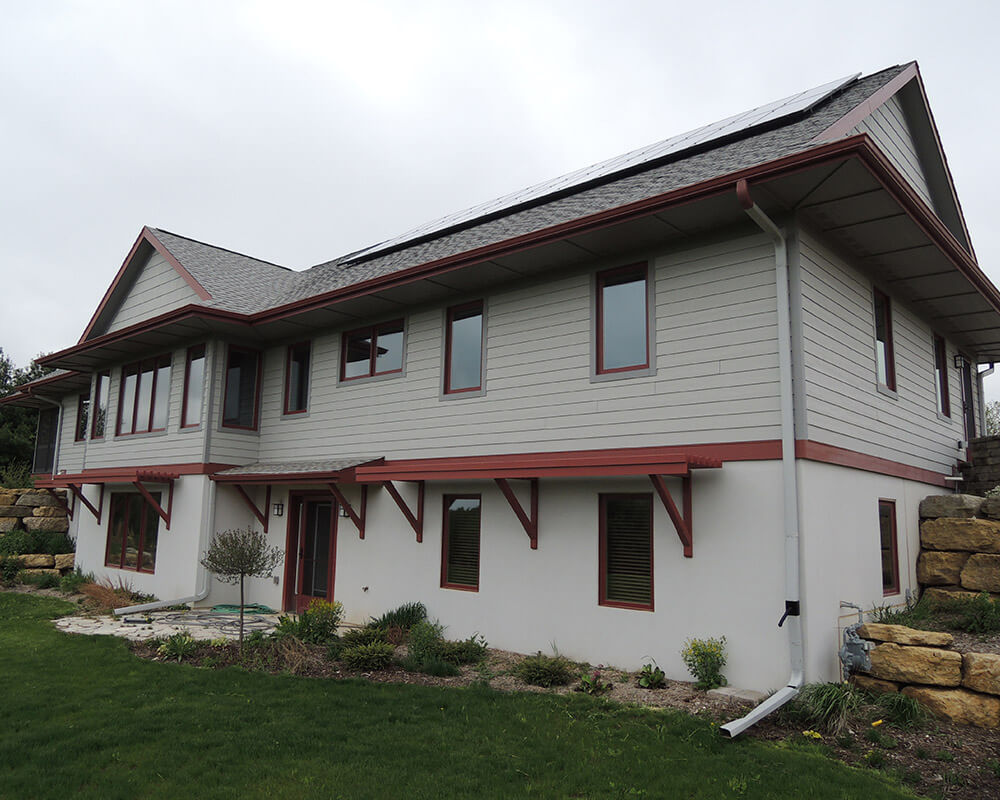 High performance home newly constructed by TDS Custom Construction with a 5.4KW Photovoltaic solar system, passive solar orientation, double exterior walls and super thick levels of insulation.