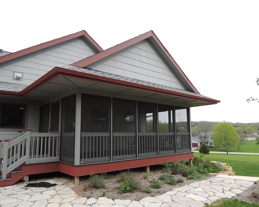 High performance home with three-season custom porch, constructed by TDS Custom Construction.