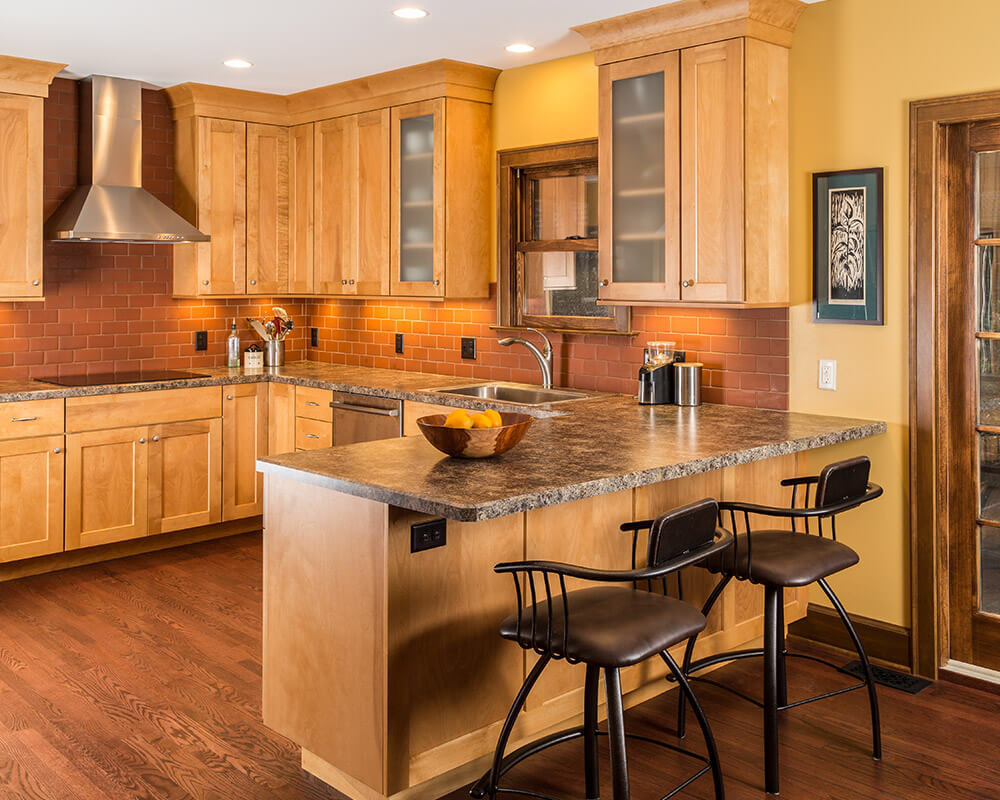 TDS used Woodharbor Custom Cabinetry in this kitchen remodel, part of a whole-house remodel in Madison, WI.