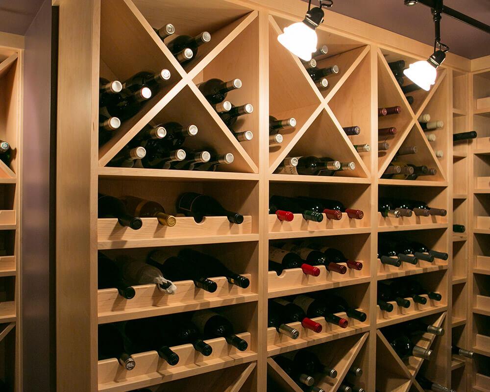 Custom wine cellar in basement of Maple Bluff, Wisconsin home near Madison, Wisconsin by TDS Custom Construction.