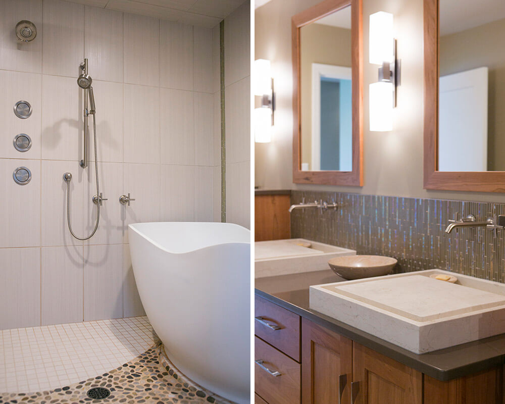 Custom bathroom remodel in Madison, Wisconsin by TDS Custom Construction. Locally sourced river rocks set in the floor of the steam shower were used to create a path to the tub and to a built in shower bench.
