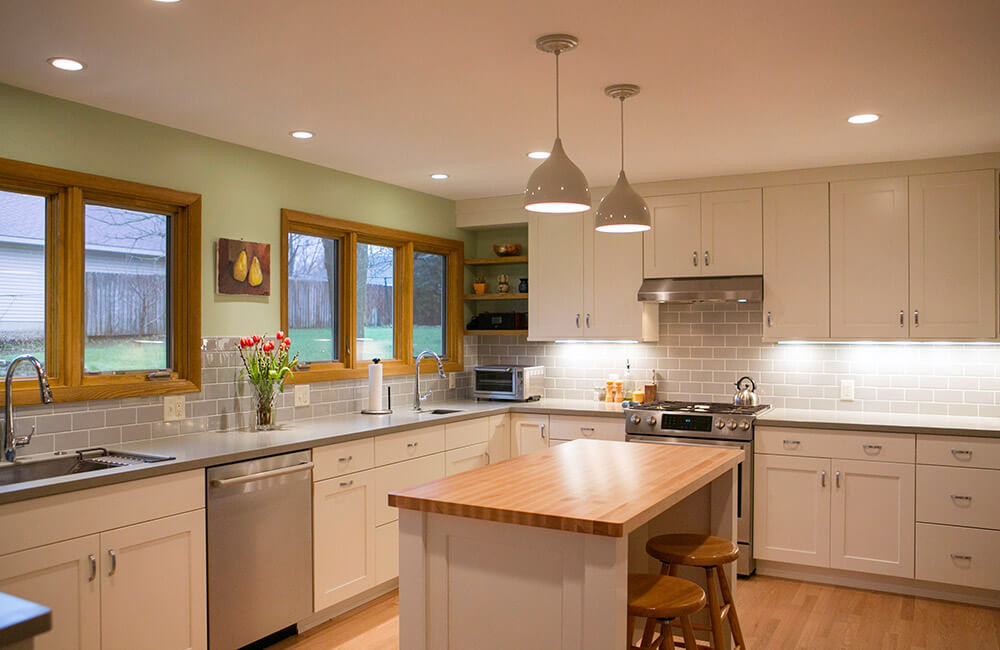 Kitchen remodel in the to fit in a midcentury modern home, by TDS Custom Construction.