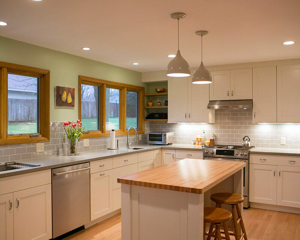 This kitchen remodel was made spacious by combining the kitchen and dinette to accommodate a busy family in Madison, Wisconsin by TDS Custom Construction.