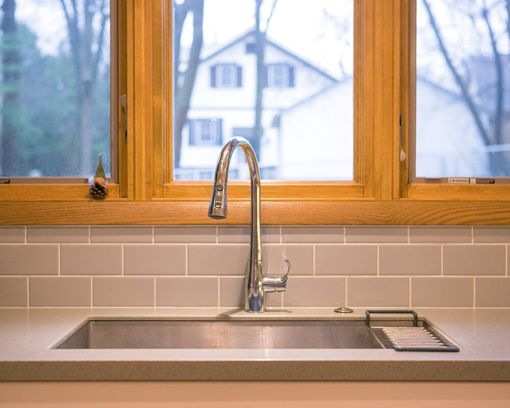 Modern details in an updated kitchen remodel in Madison, Wisconsin.