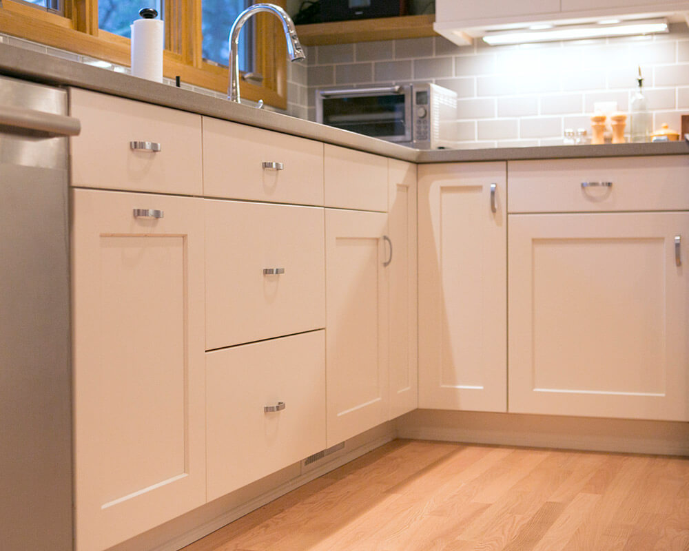 Custom Woodharbor cabinetry used in this kitchen remodel in Madison, Wisconsin.