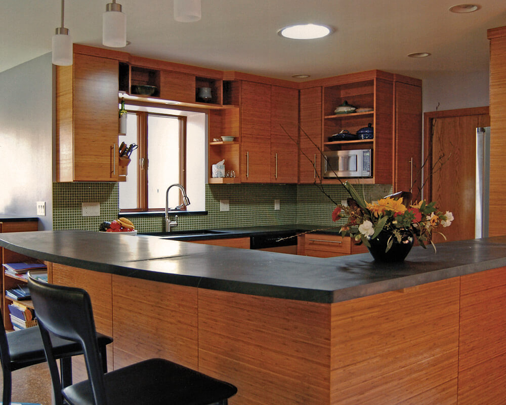 Kitchen remodeling with bamboo cabinets by TDS Custom Construction.