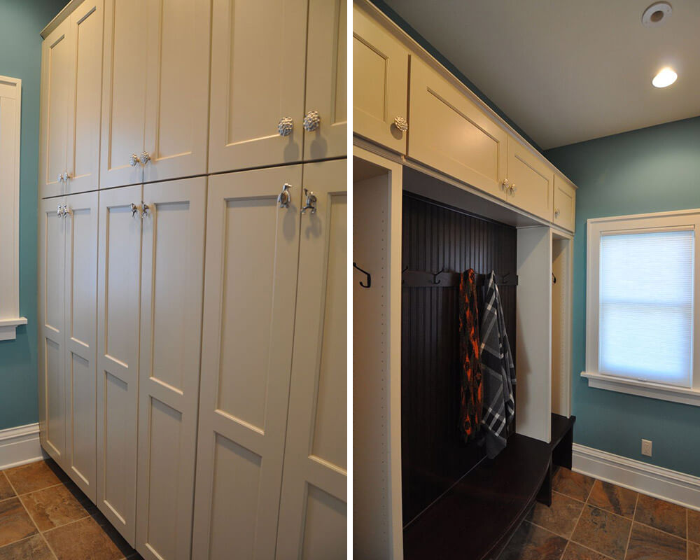 Custom cabinets in mudroom off a kitchen remodel by TDS Custom Construction.