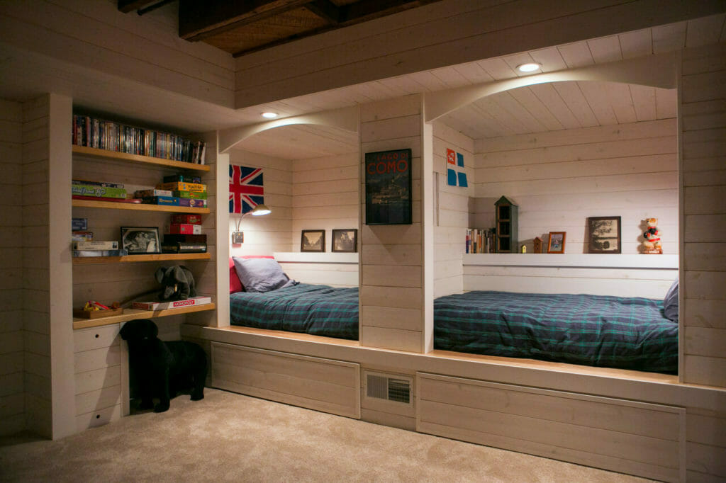 Remodeled basement with bed nooks and storage in Madison, Wisconsin.